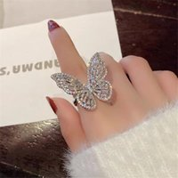 Choucong Brand Ins Wedding Rings Luxury Jewelry 925 Sterling Silver Princess Cut White Topaz CZ Diamond Gemstones Eternity Women Butterfly Band Ring Gift