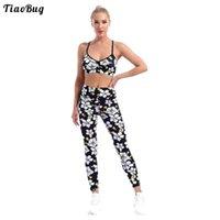Yoga outfit sommer schwarz 2 stücke frauen blume drucken sport anzug v ausschnitt schultergurte bh top hosen set für gym fitness läuft