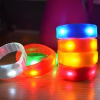Party Decoration Plastic LED Light Up Wristband Voice Control Flashing Bracelet Bangle Cheer Props Rave Glow Supply Toy