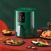 Air Fryer Home Inteligente Oil-Free 5L Ciclo de 360 graus Aquecimento Multi-funcional Potenciômetro totalmente automático Fritados Francês Fritos
