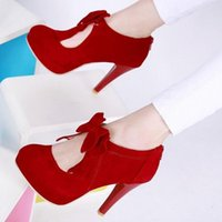 Dress Shoes Red Stiletto Bow Women's Oversized Loli High Heels Autumn And Winter Female Party