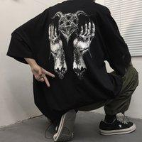 Bahar ve Yaz Moda T Gömlek Gelgit Marka Vahşi Kişilik Rahat Koyu Baskı Kısa Kollu Trend Gevşek Erkek Giyim