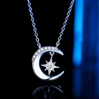necklace Star Moon personality women's 925 clavicle chain platinum inlaid with diamond