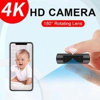 Caméras wifi caméra 4K HD sans fil micro Mini Cam plus petit Security Security Sécurtable Nanny Moniteur de bébé CCTV Temps réel pour la maison en plein air
