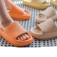 Mujeres espesa plataforma zapatillas verano playa eva suela suave sandalias ocio hombres damas baño interior zapatos antideslizantes 210324