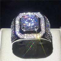 Кластерные кольца 2021 пасьянс мужской 4CT SONA Diamond Riame Real 925 Стерлинговые серебряные украшения стерлингов съедобные для мужчин