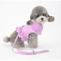 Dog Apparel Pet leash and chest back clothes 2 in 1 dogs pets cat clothing