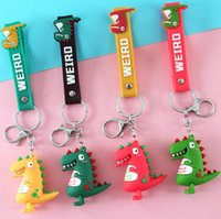 4 Colors Cartoon Dinosaur Doll Car Keychain Bag Pendant Straps PVC Men and Women Handbag Key Chain Three-dimensional Pendants For Children Gift