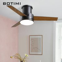 Modern 44 Inch 3 Blades Low Ceiling Fans With Lights And Remote Nordic Black Ventilador De Techo For Bedroom Dining Lighting