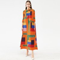 Casual Dresses Nice Spring Summer Miyake Pleated Striped Plaid Dress Plus Size Long High Vogue Vintage Indie Chinese Clothes