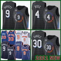 새로운요크Knicks 2021 New RJ 9 Barrett Basketball Jersey Patrick 33 Ewing Mesh Retro 30 Julius Randle Mens 4 Derrick Rose 저렴한 골드 브라운 베이지
