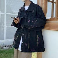 Men's Jackets Cotton Graffiti Denim Jacket Fashion Casual Ripped Mens Streetwear Loose Hip-hop Hole Bomber Men