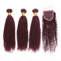 순수한 99J 와인 레드 킨키 곱슬 인도 인도 인도 머리카락 폐쇄 3Bundles 부르고뉴 변태 곱슬 머리 위사 4x4 레이스 탑 클로저