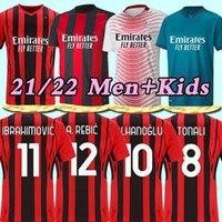 20 21 22 fãs Versão do jogador AC Futebol Milan Balr. Jerseys 2020 2021 2022 Ibrahimovic Tonali Mandzukic Kessie Homens Kid Kits Futebol Camisas