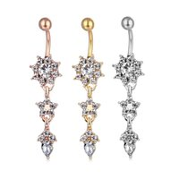 D0684-2 (3 couleurs) Nice styles Clear Couleur Navel Belly Bague Bague Piercing Corps Jewlery 1.6 * 11 * 5/8