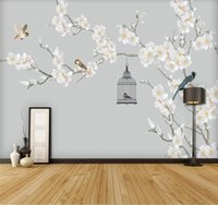 Custom Mural Wallpaper Home Decoration Painting Plain Magnolia Chinese Style Hand-painted Flowers And Birds Background Wall Wallpapers