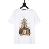 Erkek Stylist Yaz T-Shirt 3D Mektup Baskı Tee Moda Mans Bayan Kısa Kollu Yüksek Kaliteli Çiftler Elbise Marka Tees Boyutu S-2XL Noel Ağacı Baskı