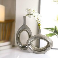 Vaso ceramico creativo in argento draw drawing disegno fiore semplice tabella di studio decorazione moderna accessori per la casa vasi
