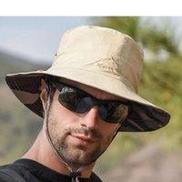 Doble cara disponible al aire libre al aire libre Pescador de verano Turismo de la pesca de los hombres Hombrero de la protección del sol transpirable