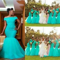 Real Photos Tiffany Blue Bridesmaid Dresses Tulle Lace Mermaid Wedding Guest Dress for Fall Off-shoulder Formal Party Gowns