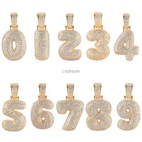18K Gold Arabic Numerals Pendant Iced Out Necklace 60cm Chain Hip Hop Jewelry Set Copper Diamond Zircon Number Necklaces for Women Men Will and Sandy Dropship Service