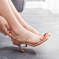 Dress Shoes Women's glass slippers, summer slippers with an open slender ankle strap VN4W
