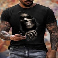 T-shirt 3D 3D de crâne noir à manches courtes Guy Style style Halloween lâche hip hop hop rock fête top street punk gothique équipe de cou