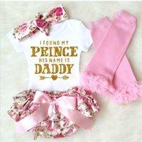 Conjuntos de ropa para bebés Ropa para niños Letra de letra Impresión Romper Flower roto Ruffled Bow Shorts Trajes para niños pequeños Vestidos 164 Z2
