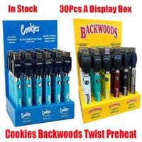 Cookies Backwoods Twist Предварительно нагревая VV Батарея 900 мАч Нижний напряжение регулируемое USB зарядное устройство Vape Pen для 510 картриджей 30 шт.