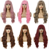 Parrucca sintetica da 26 pollici con Bangs Lunga onda simulazione capelli umani morbidi parrucche setose per le donne parrucca-347