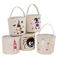 24 * 23cm Balde de Halloween 12 estilos DIY DIY Bolsas de lona de doces sacos de armazenamento reutilizável Bolsa de abóbora CYZ3253