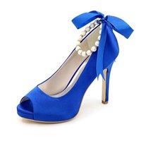 High Heels Platform Satin Wedding Shoes Peep Toe Pearls Ribbons Heeled Prom Evening Formal Party Women Dress Pumps
