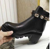 Botas de martin ocasionales de mujeres negras, zapatos cortos, material de cuero, incrustaciones de diamantes, hermosas y de moda