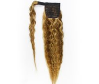Brown blonde highligts ombre ponytail hair extension Around Drawstring Curly Natural Wavy Ponytails Human Hairs Draw string Pony tail hairpiee 120g