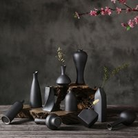 Ceramic Retro Simple Creative Desktop Small Ceramic Coarse Pottery Vase Hydroponic Room Decoration Home Furnishing