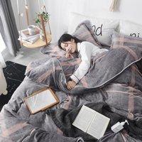 Комплекты постельного белья Yovepii Flece Set 4PCS Flannel Зимний Плоский Лист Наволочка Доступная Крышка Геоматический Домашний Номер Спящий Теплый Цветок