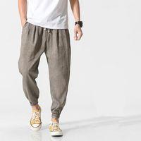 Harajuku 2021 Япония стиль гарема Jogger штаны мужчины хип-хоп хлопчатобумажные льняные спортивные штаны брюки модный весна летняя одежда 5xL мужская