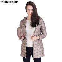 Yukiese-Marke plus lange Daunenjacke Frauen Winter Ultraleichte Frau mit Kapuze 90% weißer Mantel weibliche große Größe 210608
