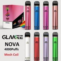 Authentique Glamee Nova Device jetable Kit 2200mAh Batterie Prérurée 16 ml Pod 4000 Puff Vape Stylo Véritable VS Bar Plus