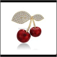 Pins, Jewelryluxury Cubic Zirconia Cherries Enamel Pins Cute Red Fruit Cherry Brooches Pin Vintage Jewelry Gift For Her Broche Femme Bijoux D