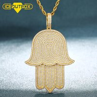 Big Size Hand Pendant Necklace Full Of Crystal Iced Out Cubic Zircon For Men's Hip Hop Jewlery Rock Chain Gold Silver Color Gift Necklaces