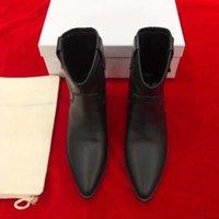 Kadınlar Isabel Çizmeler Hakiki Siyah Marant Kovboy Ayak Bileği Deri Çivili Tarzı Çizmeler Dawyna Deri Ayak Bileği Sivri Burun Jijlp