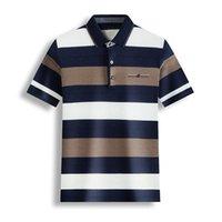 트렌디 한 레저 남자 폴로 셔츠 YMWMHU 남자 스트라이프 순수 코튼 얇은 여름 탑 캐주얼 스트리트웨어 옷 슬림 피트 셔츠