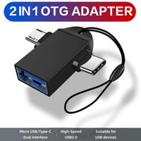 2 in 1 OTG Adapter USB 3.0 Female To Micro USB Male and USB TYPE C Male Connector Aluminum Alloy with Lanyard Phone Accessories