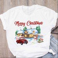 Donne da donna Top Graphic Cartoon Casa di neve Camion Camion Tree Carino Anno Anno Natale Stampato Lady Tees Abbigliamento T shirt femminile