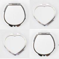 Nueva sublimación blanca en blanco Espejo de cosméticos Mini Mini Moda de acero inoxidable Transferencia térmica de impresión de metal Maquillaje de metal DIY EWF7871