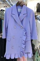 Korean Dongdaemun 2021 Summer New Korean Style Loose Suit Collar Mid-Length 3 4 Sleeve Pleated Dress for Women