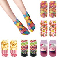 Candy Popcorn Printed Socks for Female Funny Creativity Low Ankle Cotton Happy Harajuku Compression Ice Cream Girl