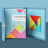Inteligência infantil Blocos Magnéticos Jigsaw Wooden Creative Books Sete Peça Puzzle Tangram