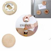 Blank DIY Wooden Round Shape Magnetic Flamingo Cartoon Printed Bottle Opener Coaster Fridge Magnet Decoration Beer Bottle Opener GWE10391